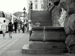 Stockholm - Explored # 237 (loungerie) Tags: blackandwhite bw fountain blackwhite kid sweden stockholm s bn streetshot fomtana