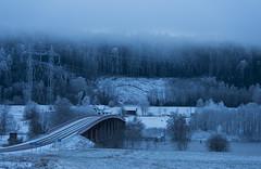 A cold fairytale (Madeleine Forsgren) Tags: bridge blue winter mist cold sweden foggy sverige bro vrmland bltt fryken nilsby