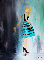 Little Miss (Kristina's Fine Art) Tags: cute fashion paint stripes fineart oil glam fashionista decor louboutin littledresscollection