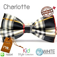 Charlotte - หูกระต่ายเด็ก ลายสก๊อต สีดำ ครีม แดง เนื้อผ้าผิวมัน เรียบ Premium Quality
