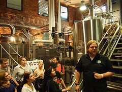 Touring the brewery.