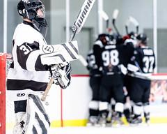 15Jan09_D7C3075.jpg (carlina999) Tags: white black game ice hockey goal goalie hit competition varsity puck win lose comrade defense forward fenwick offense