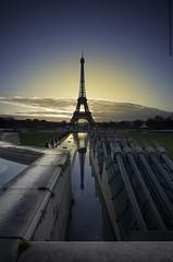 miroir (F.20.100) Tags: morning blue sky cloud paris france tower yellow sunrise eiffel miroir
