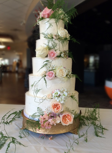 """A beautiful sculpted buttercream wedding cake. • <a style=""""font-size:0.8em;"""" href=""""http://www.flickr.com/photos/50891271@N03/16346977005/"""" target=""""_blank"""">View on Flickr</a>"""