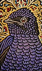purple martin (Lisa Brawn) Tags: wood portrait calgary bird art birds illustration painting design graphics artist folkart wildlife canadian carving popart alberta woodcut woodcarving woodblock brawn reclaimed salvaged wildbirds upcycled lisabrawn birdsinart