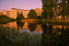 Reflection (Maria Eklind) Tags: light sky reflection buildings se skne twilight pond sweden outdoor himmel sverige malm sunreflection ljus ribban ribersborg spegling skneln resundsparken limhamsvgen