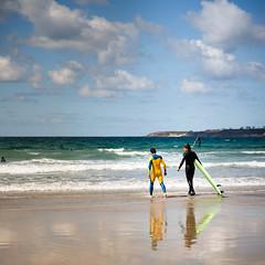 Surfing in Bretagne (Zeeyolq Photography) Tags: ocean sea france men beach sand surf surfer wave bretagne leconquet