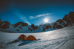 Dancing in the Moonlight (Federico Ravassard) Tags: camping winter alps canon nightscape tent moonlight chamonix mont blanc 6d alpinism