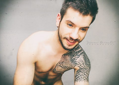 Why Should I Go in Bed (SammDewaele) Tags: blue black hot male men guy smile hair beard model arm body muscle chest simple tatto outstanding