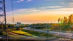 Highway 1 (Joni Salama) Tags: auto road blue light sunset panorama orange car espoo suomi finland highway tie hdr lightroom valo auringonlasku liikenne sininen oranssi friisinmki