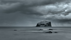 Bass Rock From Canty Bay (roseysnapper) Tags: longexposure sea blackandwhite bw cloud lighthouse seascape storm beach water monochrome rock river seabirds gannet firthofforth bassrock baseline birdcolony cantybay nikond810 nikkor2470f28 stbaldredschapel