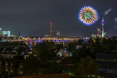 Fireworks at the Japanday in Dsseldorf (Moritz Padberg) Tags: longexposure bridge skyline fireworks brcke dsseldorf duesseldorf feuerwerk langzeitbelichtung