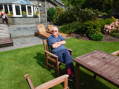Dad in the hotel Gardens (quintinsmith_ip) Tags: flowers grass hotel grasmere grounds wordsworth wordsworthhotelandspa