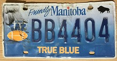 MANITOBA, WINNIPEG BLUE BOMBERS ---PLATE #BB4404 (woody1778a) Tags: blue bombers winnipeg manitoba sports licenseplate numberplate collection collector mycollection myhobby alpca1778 woody