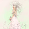 Paler shade of white ('_ellen_') Tags: pink flowers portrait white girl hair branches torquoise