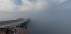 Bridge in the fog (*Nils aus Kiel*) Tags: bridge sky building nature fog clouds germany landscape nebel foggy himmel architektur kiel