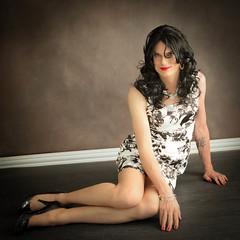 Black and White Floral Dress 3 (Hannah McKnight) Tags: tgirl transgender transgirl model crossdress crossdresser stilettos