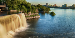 Rideau Falls (flashfix) Tags: july262016 2016 2016inphotos nikond7000 nikon ottawa ontario canada 40mm falls waterfall rideaufall city bridge rideauriver rideauriverpark nature trees rocks panorama longexposure islands downtown cityscape ndfilter