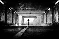 ...timelined... (ines_maria) Tags: vienna monochrome city woman jogging light bw praterstern time tunnel