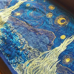 Ive always been partial to impressionist paintings, and so when I realized there was a woven wrap of la nuit toile (starry night) in existence, I was enthralled. I never thought I would own this beautifully textured piece, but @emhalls gifted it to me (nadiathinks) Tags: gratitude vangogh starrynight lanuitetoilee natibaby nadiathinks