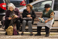 'The Trio' (Canadapt) Tags: women elders occupied friends social gathering bench sitting seated street alfama lisbon portugal canadapt
