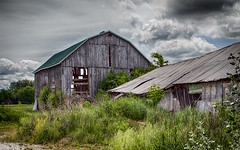Barn and broken down shed (maxinneball) Tags: barn shed country outdoors condemned broken gray ngc