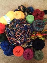 Mixed warp inspired by a skein of handspun (wovenflame) Tags: saori warp mixed weaving winding yarnselection