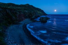 Moonset at Green Gardens (Adam Woodworth) Tags: beach canada cliffs greengardens hiking moon moonset newfoundland night seacliffs stars