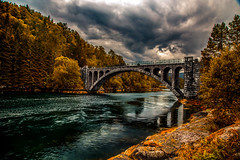 Skodje Bridges, Norway (jforberg) Tags: 2016 skodjebrua bridges river road woods water wonderful world trees cloudy cloud sky skandinavia