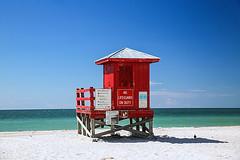 Life Guard Tower  at Sand Key (wyojones) Tags: florida sandkey countypark gilfofmexico sandkeybeach sand lifeguardtower water waves beach colors red shore gulf