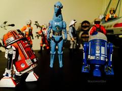 R2-L3, PZ-4CO & R3-M3 (Macroworlder) Tags: star wars hasbro disney rebel pilots xwing hangar bay droids