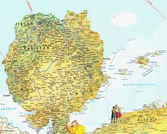 Illuminated Map #8 (The Grand Collage) Tags: ocean africa pakistan cloud india tree valencia ferry daisies algeria spain mediterranean map delhi north ibiza fantasy arabian punjab hyderabad karachi cartagena sindh rajasthan sleeper gujarat majorca minorca baluchistan