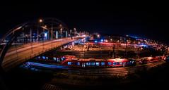 Rails @ Night (fake tilt-shift) (svenpetersen1965) Tags: longexposure morning bridge cars night train lights harbor nightshot fake infrastructure rails kiel tiltshift hörn gablenzbrücke