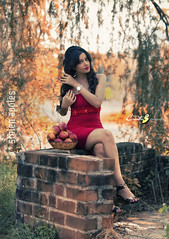 _MG_5866_edit (CreativeB Photography) Tags: red tree girl beauty fashion wall river photography model branch basket modeling apples stolen hyderabad rakesh diksha panth kurra