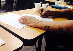 JASON AT SCHOOL (marc falardeau) Tags: jason black guy finger painted hunk nails tats amateurphotographerschool
