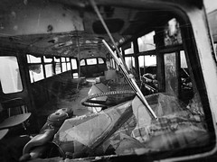 wiper without scope... (Jordan_K) Tags: urban bw bus abandoned beauty volvo rust decay perspective rusty scrapyard wiper