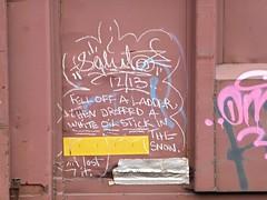 P1290554 Salut (arrowlakelass) Tags: white canada art train lost graffiti paint bc steel rail oil stick cpr freight boxcars salut castlegar 1000000cars