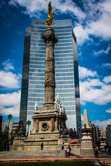 2014 - Mexico City - El Angel de la Inpendencia (Ted's photos - For Me & You) Tags: building monument statue stairs umbrella mexico nikon mexicocity steps bluesky highrise cropped vignetting hsbc corinthiancolumn 2014 paseodelareforma d600 5photosaday elngel monumentoalaindependencia enriquealciati tedmcgrath elngeldelaindependencia tedsphotos theangelofindependence nikonfx antoniorivasmercado d600fx