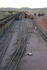 BNSF yard at Guernsey WY (SPZahn) Tags: guernsey bnsf burlingtonnorthernsantafe coaltrain guernseywyoming