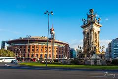 PLAÇA D'ESPANYA - BARCELONE (daumy) Tags: barcelona statue point place catalunya capitale circulation arene espagne ville barcelone metropole rond catalogne