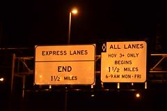 HOT Lanes End / HOV Express Lanes Begin (T.C.M.) Tags: signs hot highway traffic bowl toll freeway interstate interchange lanes i95 regulatory mxing expresslanes vdot guidesigns hotlanes 95expresslanes