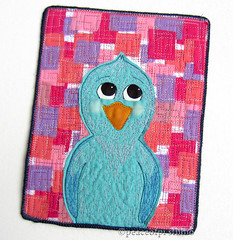 Brightside Bluebird (JoMo (peaceofpi)) Tags: canada bird sewing character series bluebird artquilt freemotion rawedge peaceofpi