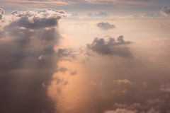 Heavenly (danielpivnick) Tags: ocean water clouds sunrise airplane gold golden flying asia southeastasia philippines aerial tropical tropics palawan thunderheads sonynex6