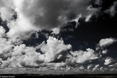 Fluffy clouds (Kaymian Photography) Tags: blackandwhite bw netherlands weather clouds landscape outdoor dunes wolken fullframe bandw duinen texel harsh 6d waddeneilanden hardlight