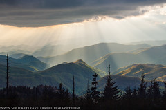Blue Ridge Parkway NC Heavenly Appalachia (Solitary Traveler Photography) Tags: travel blue trees light sky mountains nature clouds landscape outdoors evening haze hiking great ridge parkway rays smoky heavenly ridges appalachians