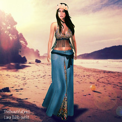 Lara boho outfit (.:TheBeautifulOnes:. Babs Draconia) Tags: flowers party summer woman sexy classic beach outfit long venus mesh recycled top fringe skirt lara crop denim hippie standard isis halter wedge maxi freya belleza physique hourglass fitted maitreya slink