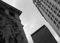 Chicago, Looking Up (shaunrobertclancy) Tags: new old city winter sculpture chicago downtown geometry towers overcast bnw offices oldnew