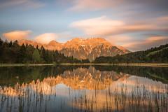 Luttensee (thomasfejeregyhazy) Tags: sunset mountain lake nature clouds landscape bayern bavaria see sonnenuntergang outdoor wolken landschaft karwendel mittenwald luttensee