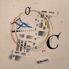 Clean (marusaart) Tags: blue white black art painting circle print gold artist acrylic mixedmedia c clean letter sauber copic marusaart