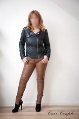 elle241 (Cuir Couple) Tags: leather bondage skirt bdsm master jacket jupe mistress veste leder matre pant pantalon cuero cuir hosen cravache maitresse martinet cuissardes